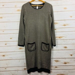 Nine West Black & Tan Houndstooth Sweater Dress O8
